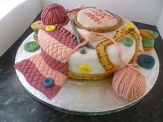 sewing themed cakes   sewing and knitting themed cake idea was borrowed off the internet but ...