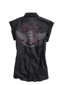 Harley-Davidson® Women's Black Label Wings and Roses Woven Shirt 96300-13VW