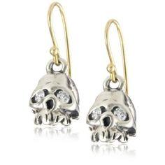"""* Erica Molinari """"Renaissance"""" Diamond Eyes with Sterling Silver Hollow Skull Earrings * Skull Earrings, Skull Jewelry, Fine Jewelry, Jewellery, Jewelry Accessories, Fashion Accessories, Diamond Eyes, Designer Earrings, Designer Shoes"""