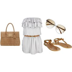 Ruffle dress(more like shirt) with brown accents. I'd wear this with short or jeans