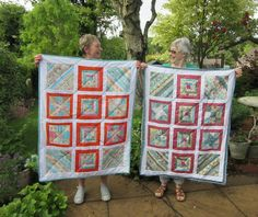 Jane & Janice with their first sampler quilts - we had so much fun on Thursday afternoons! Sampler Quilts, Textile Artists, Thursday, Students, Textiles, Colours, Holiday Decor, Amazing, How To Make