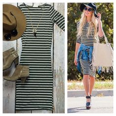 Bethany Striped Midi Dress   SexyModest Boutique