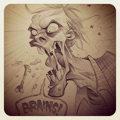 """Brains!"" by blitzcadet #zombie"