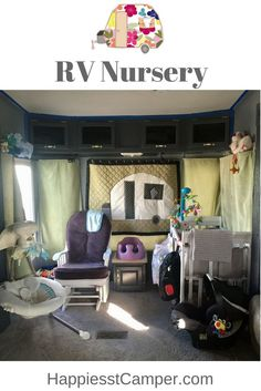 RV Nursery.  A nursery for baby in a RV.  Everything baby could need in a renovated RV.  Adorable baby nursery.