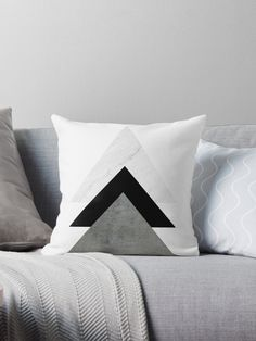 Buy Any 2 & Get OFF - Monochrome Arrows Throw Pillow by ARTbyJWP from Redbubble - Abstract photo collage of three triangles with different textures: marble, cement, and plaid black.