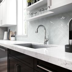From the gorgeous countertop to the top-of-the-line faucet, we can feel the quality of the materials it this computer generated image. Double Vanity, Faucet, Countertops, 3 D, Kitchen Design, Design Inspiration, Image, Home Decor, Counter Tops