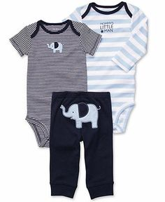 Carter's Baby Set, Baby Boys Turn Me Around 3-Piece Striped Bodysuits and Pants - Kids - Macy's