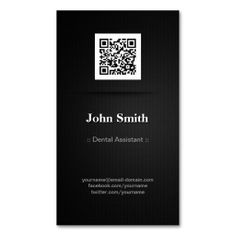 dental assistant elegant black qr code business cards - Qr Code Business Card