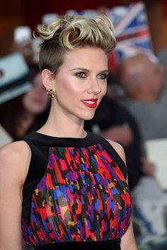 Johansson scarlett rocks refined undercut romantic makeup catalog photo