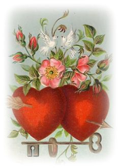 free vintage Valentines clip art doves red hearts pink flowers key wedding ring