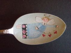 I finished this little angel last night. she has teeny tiny roses on the bottom of her dress. I thought this one could take you into Valenti. Diy Christmas Decorations Easy, Christmas Crafts, Christmas Ornaments, Christmas Sale, Spoon Ornaments, Wooden Ornaments, Spoon Art, Wood Spoon, Painted Spoons