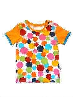 Dětské tričko puntík. Bavlna je příjemná na dotek a nošení. Savá a ideální do teplejšího počasí.