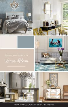 Luxe Glam style Interior Design, Take our quiz to discover your Interior Design Style and receive a complimentary style guide to help you bring your style to life Interior Design Atlanta, Interior Design Themes, Modern Interior Design, Interior Styling, Simple Interior, Luxury Interior, Glam Style, House Color Schemes Interior, Design Scandinavian