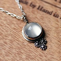 Moonstone necklace  silver daisy necklace  June by metalicious, $122.00