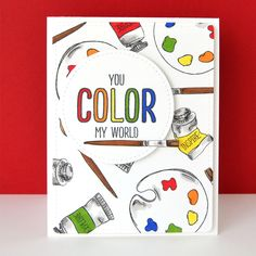 Kara Vrabel for featuring the new Color My World stamp set {available and Love Mom Layers Dies Instagram Captions Happy, Dibujos Zentangle Art, Easy Art Projects, Artist Quotes, Dot Art Painting, Bullet Journal, Card Maker, Card Tags, Clear Stamps