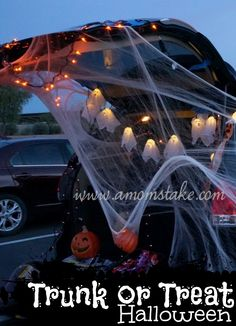 Fun Halloween Party idea - decorate your car trunks for a Trunk or Treat party. Great for a block party or church group!