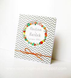 Wedding card   wreath   summer wedding   chevron pattern   newlyweds