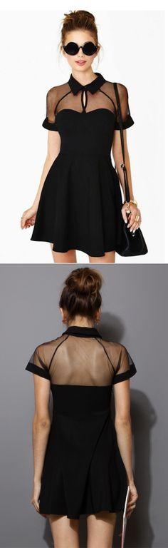 Black Mesh Peak Collar Dress