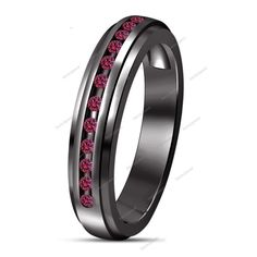 0.70 CT. Round Pink Sapphire Traditional Round 14k Black Gold Plated Band Ring…