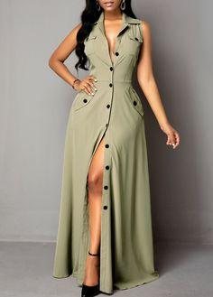 Pocket Button Up Sleeveless Maxi Dress Long African Dresses, African Fashion Dresses, Frock Fashion, Fashion Outfits, Plus Size Maxi Dresses, Casual Dresses, Button Up Maxi Dress, Bodycon Outfits, Edgy Dress