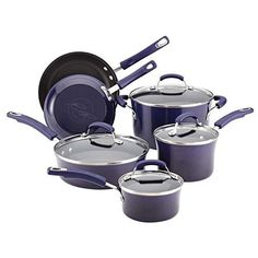 Rachael Ray Hard Enamel Nonstick 10-piece Cookware Set (Purple) by Cookware Sets * Click image for more details.