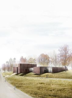 RCR Arquitectes | Museo Soulages . Rodés | HIC Arquitectura drawing of trees and buildings composed with the landscape