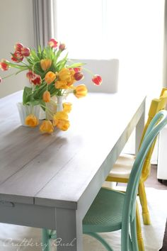 IKEA Bjursta table hack (with fun mismatched chairs! Bjursta Table, Ikea Dining Table, Dining Room, Ikea Table Hack, Patio Table, Picnic Table, Dining Area, Dining Chairs, Magazine Deco