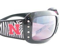 Nebraska Cornhuskers NCAA Women's Rhinestone Black Zebra Print Sunglasses