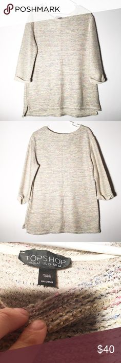 Topshop knit sweater! Very cute size 10 knit sweater with 3/4 sleeve! Long and warm! Make an offer! Topshop Sweaters Crew & Scoop Necks