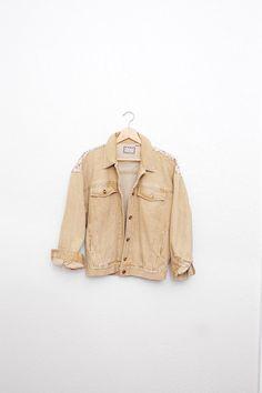vtg 90's faded floral MUSTARD denim jean jacket by ResaleReligion, $54.00