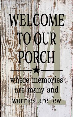 Initial Sign Monogram Welcome To Our Porch Where Memories Are Many Wood Sign, Canvas, or Print - Porch Decor by HeartlandSigns on Etsy