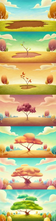 project natura - background 01 by lilibz on deviantART Game Background, Cartoon Background, Animation Background, Game Environment, Environment Concept Art, Environment Design, Game Design, Landscape Drawings, Landscapes
