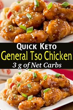 This low carb keto general tso chicken is a classic Chinese takeout dish that is way better than any restaurant for a perfect weeknight dinner, made with tender chicken and a spicy-sweet sauce served over steamed broccoli or cauliflower rice. Healthy Low Carb Recipes, Low Carb Keto, Keto Recipes, Cooking Recipes, Recipes Dinner, Healthy Chinese Recipes, Low Carb Chicken Recipes, Snacks Recipes, Healthy Breakfasts