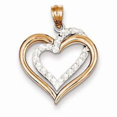 14k Two Tone Gold Diamond Cut Heart Pendant