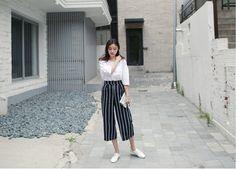 [슈가펀]트루하이스트라이프와이드팬츠 true high stripe wide pants / 세로스트라이프 와이드팬츠 통바지 아이보리,네이비free 신축성좋아요 후면밴딩 데일리룩 : 슈가펀