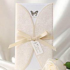 Elegant Ivory Butterfly Print Tri-fold Wedding Invitation (Set of 50) – USD $ 97.99