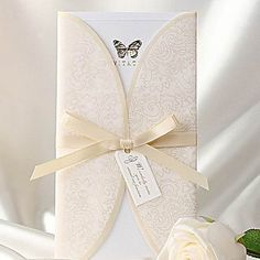 Elegant Ivory Butterfly Print Tri-fold Wedding Invitation (Set of 50) – USD $ 97.99