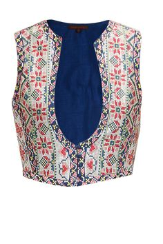 Indigo embroidered gilet available only at Pernia's Pop-Up Shop.