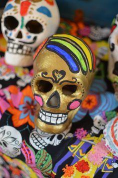 Gold Sugar Skulls Day of the Dead halloween kafcooks writer 4 tickets please