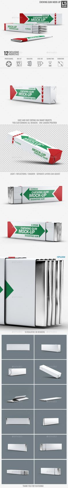 Chewing Gum Mock-Up #PSD • Click here to download ! http://graphicriver.net/item/chewing-gum-mockup-v2/15728632?ref=pxcr