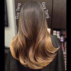 Subtle contrast balayage ombre with dark base