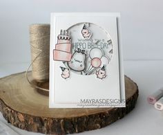 Mayras Designs, My Favorite Things, My Favorite Things Stamps, My Favorite Things Cards, My Favorite Things Happy Hippos, Happy Hippos, Copic Markers , Copic Coloring , Shaker Card,