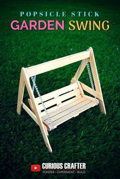 How Can I Improve My Golf Swing, Diy And Crafts, Popsicle stick garden bench swing. Step-by-step guide to creating this popsicle stick garden bench swing perfect for a dollhouse, scaled model or fair. Diy Popsicle Stick Crafts, Popsicle Stick Houses, Wood Sticks Crafts, Popsicle Stick Birdhouse, Popsicle Bridge, Craft Sticks, Wood Crafts, Sticks Furniture, Furniture Ideas