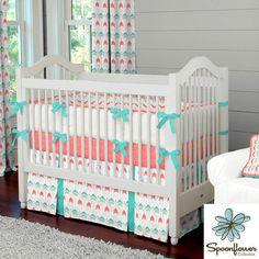 Garçon ou fille bébé literie lit : corail et turquoise flèche 4 pièces lit literie ensemble par des conceptions carrousel