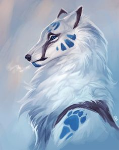 My rp character Verris Roihusielu Fairly a easy image however I w - Anime Wolf Mystical Animals, Mythical Creatures Art, Fantasy Creatures, Cute Animal Drawings, Cute Drawings, Wolf Drawings, Fantasy Kunst, Fantasy Art, Anime Animals
