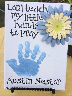 or brother art for their bedroom? Teach my feet to walk in your ways Christening Favors, Baptism Favors, Baptism Party, Baby Christening, Baptism Gifts, Baptism Ideas, Boy Baptism Decorations, Baptism Food, Christening Centerpieces