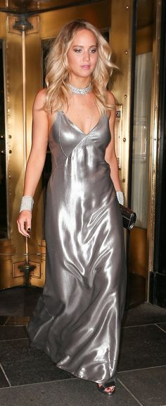 Jennifer Lawrence in a silver long gown |   | Ledyz Fashions www.ledyzfashions.com