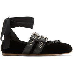 Miu Miu Black Velvet Ballerina Flats ($625) ❤ liked on Polyvore featuring shoes, flats, black, black flats, black ballet flats, ankle strap flats, ballet shoes and flat shoes