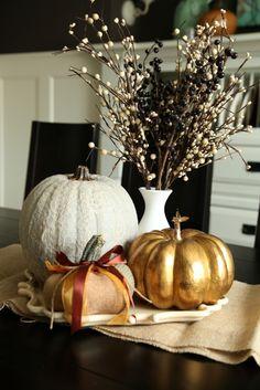 vintage pretty: Pumpkins....metallic spray paint a pumpkin to look like this