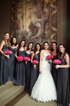 floor length black bridesmaid dresses with pink bouquets. Pink Grey Wedding, Charcoal Wedding, Pink Wedding Colors, Hot Pink Weddings, Gray Weddings, Dream Wedding, Southern Weddings, Unique Weddings, Dark Grey Bridesmaid Dresses